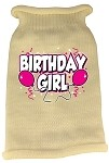 Birthday Girl Screen Print Knit Pet Sweater LG Cream